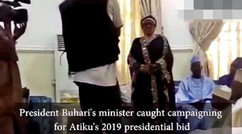 Buhari's Minister, Mama Taraba Caught Campaigning for Atiku Ahead of 2019